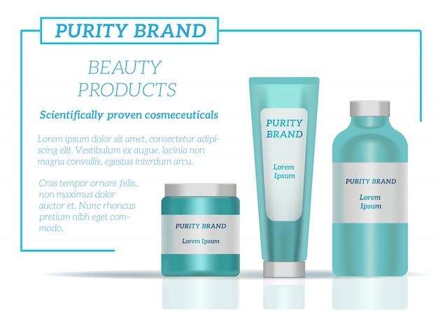 Embalagem de frascos de cosméticos Vetor Premium