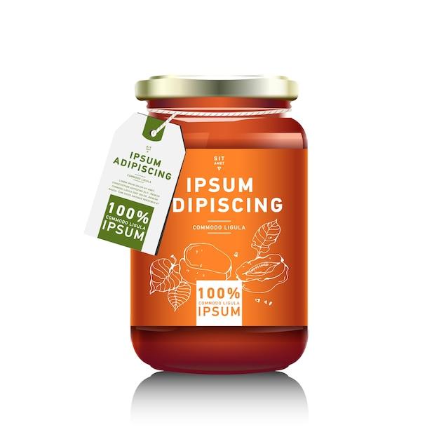 Embalagem de garrafa de vidro realista para design de geléia de frutas. geléia de damasco com etiqueta de design. marmelada de laranja. jarra de frutas Vetor Premium