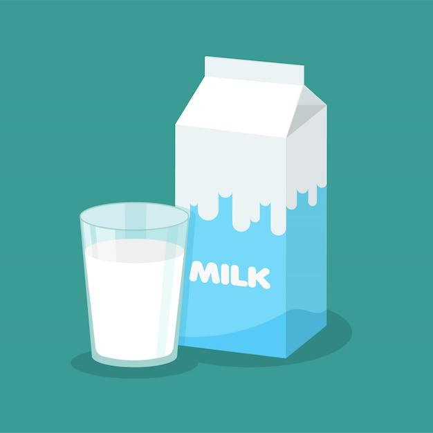 Embalagem de leite de vetor e copo cheio de leite Vetor Premium