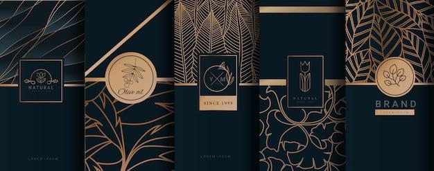 Embalagem de ouro de logotipo de luxo Vetor Premium