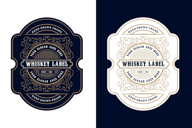 Embalagem de rótulo de logotipo vintage de quadros de luxo para rótulos de cerveja, uísque, álcool e bebidas Vetor Premium