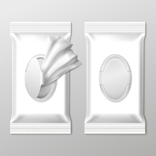 Embalagem de toalhetes húmidos Vetor Premium
