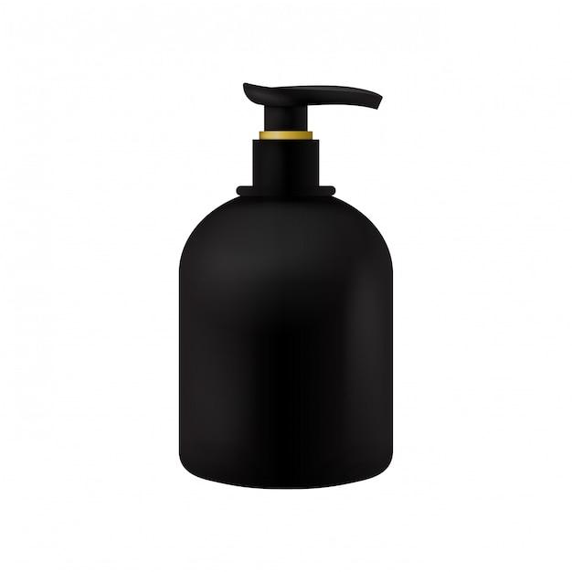 Embalagem de vetor modelo de frasco de cosméticos de produtos de beleza preto com distribuidor em branco isolado Vetor Premium