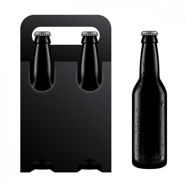 Embalagem preta de uma bebida Vetor grátis