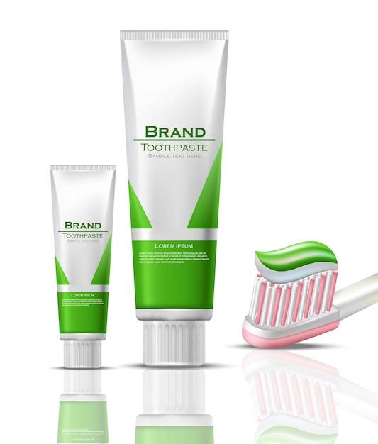 e0bdbc374f Embalagem realista de pasta de dentes se maquete. bio produtos ecológicos  tubos e pincel Vetor