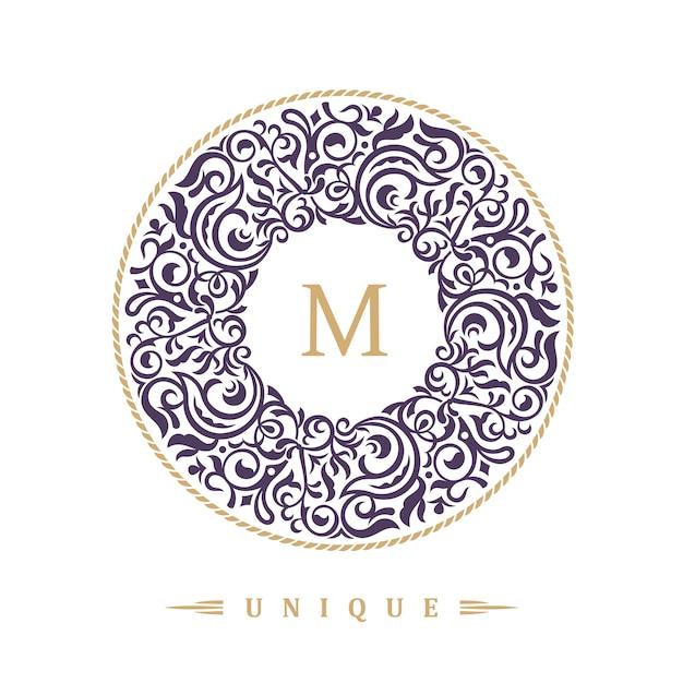 Emblema caligráfico redondo para café Vetor Premium