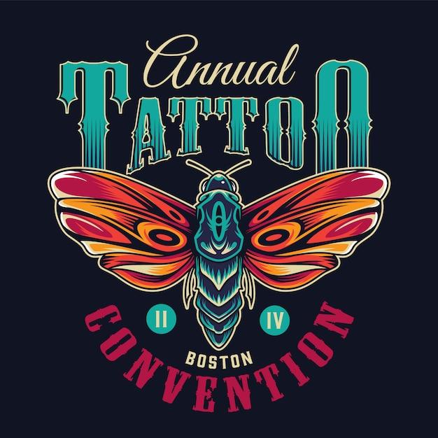 Emblema colorida de tatuagem flash vintage Vetor grátis