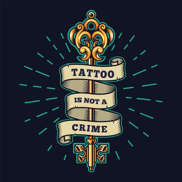 Emblema colorido de salão de tatuagem Vetor grátis