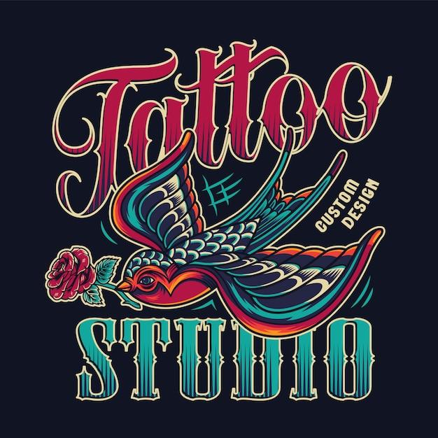 Emblema colorido vintage de estúdio de tatuagem Vetor grátis