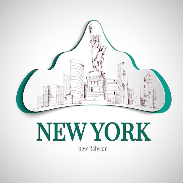 Emblema da cidade de nova york Vetor grátis