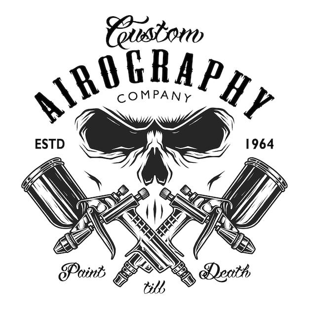 Emblema da empresa de aerografia personalizada Vetor Premium