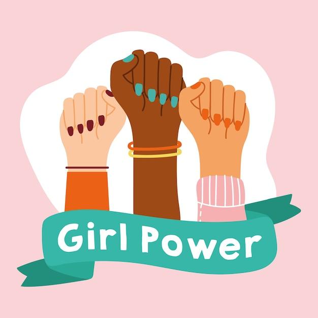 Emblema da garota poderosa com mãos inter-raciais com desenho de ilustração vetorial de fita Vetor Premium