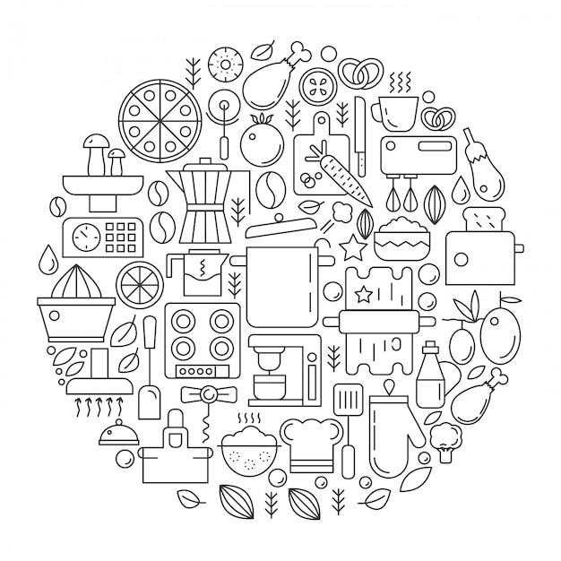 Emblema da linha de equipamentos de ferramentas de cozinha Vetor Premium