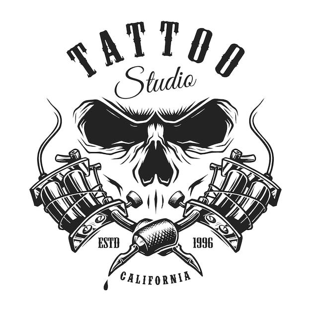 Emblema da tatuagem monocromática vintage Vetor grátis