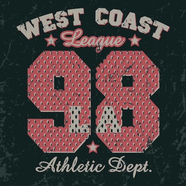 Emblema da tipografia california sport wear Vetor Premium