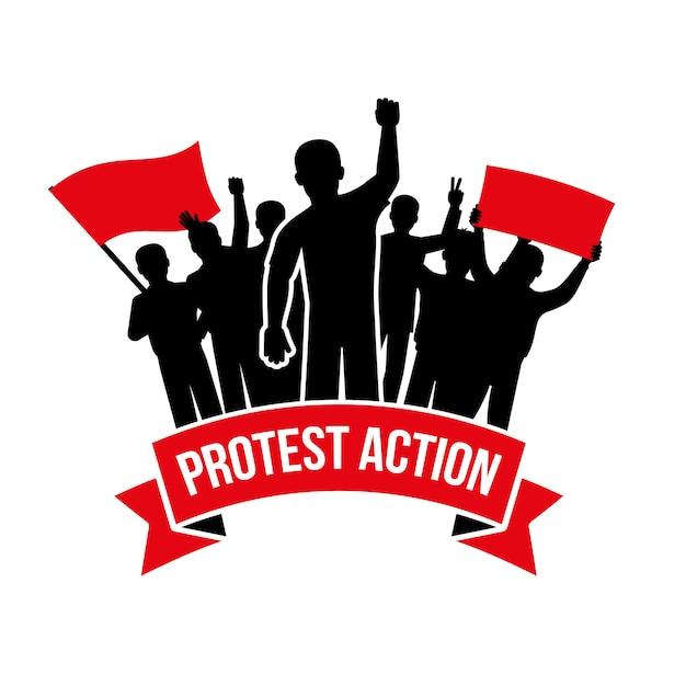 Emblema de ação de protesto Vetor grátis