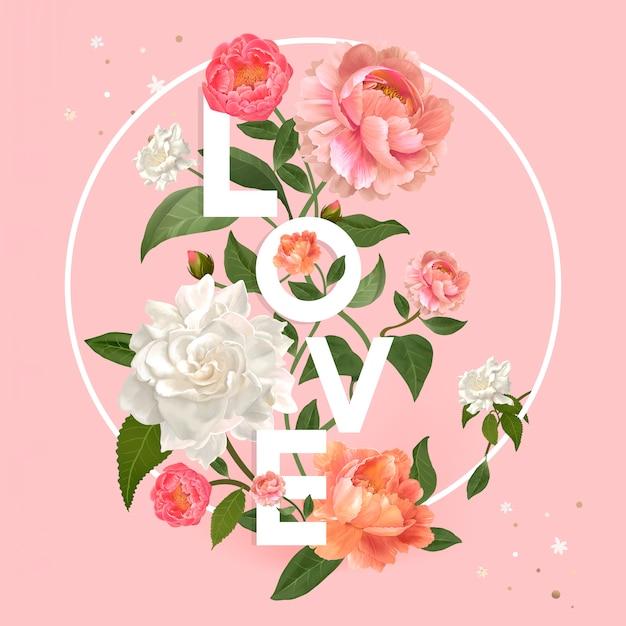 Emblema de amor floral Vetor grátis