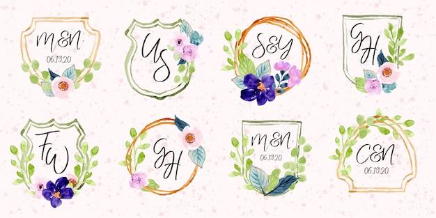 Emblema de aquarela monograma floral Vetor Premium