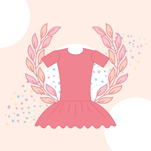 Emblema de balé de tutu rosa bonito Vetor Premium