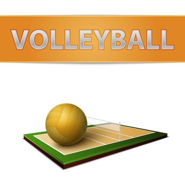 Emblema de bola e campo de voleibol Vetor grátis