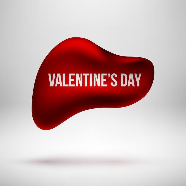 Emblema de bolha premium redondo abstrato vermelho, modelo de botão de luxo com amor Vetor Premium