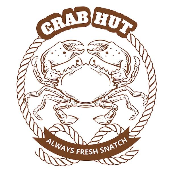 Emblema de cabana de caranguejo. ilustração vetorial Vetor Premium