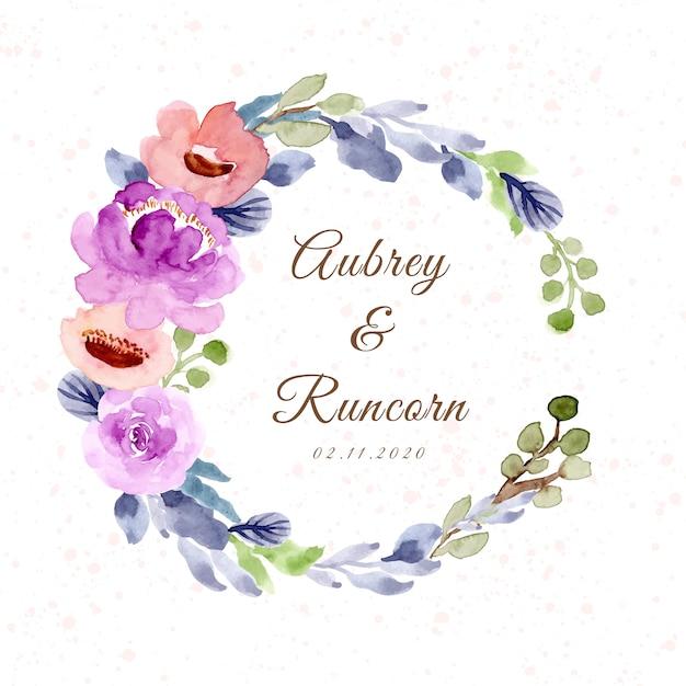 Emblema de casamento com coroa de flores em aquarela Vetor Premium