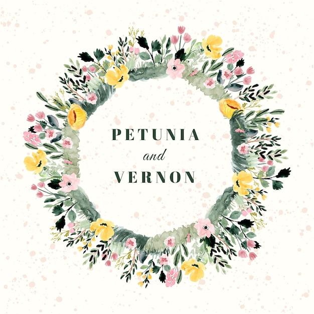 Emblema de casamento com quadro aquarela jardim floral Vetor Premium