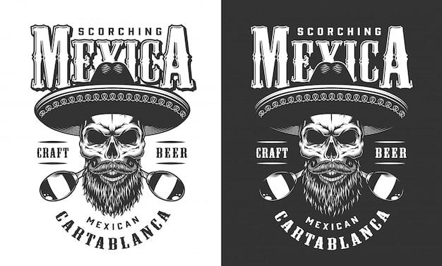 Emblema de caveira mexicana barbudo e bigode Vetor grátis