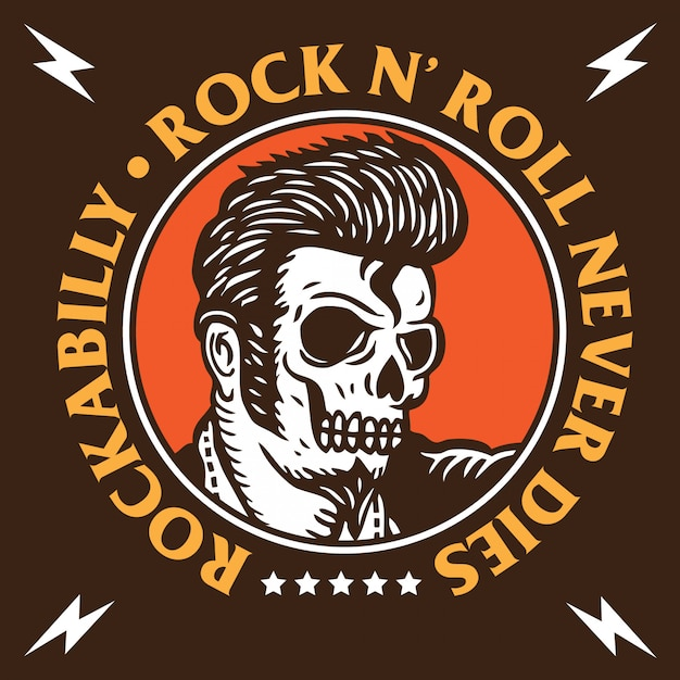 Emblema de caveira rockabilly Vetor Premium