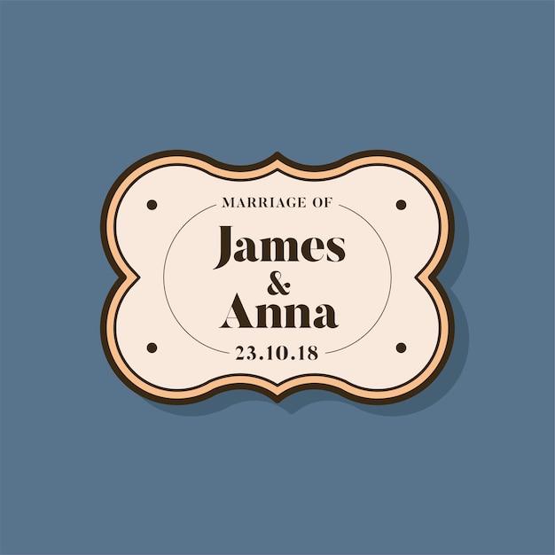 Emblema de convite de casamento de estilo clássico Vetor grátis