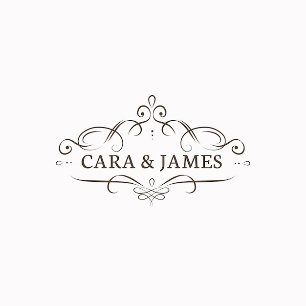 Emblema de convite de casamento Vetor grátis