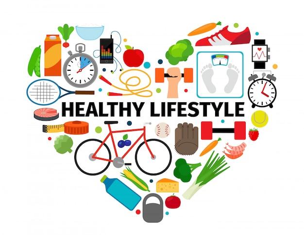 Emblema de coração de estilo de vida saudável Vetor Premium