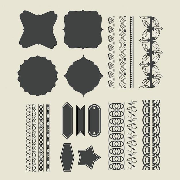 Emblema de emblemas de fita decorativa Vetor grátis