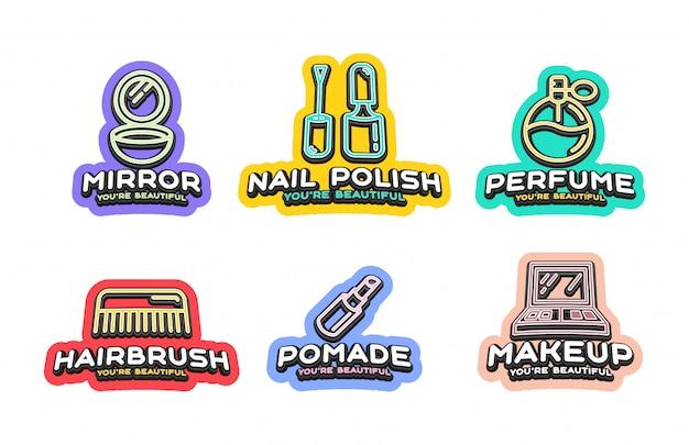 Emblema de estilo tipografia esporte super herói com ícone de cosméticos de beleza. Vetor Premium