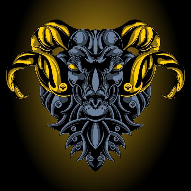 Emblema de ferro aries Vetor Premium
