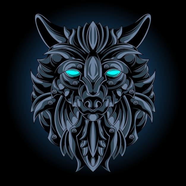 Emblema de ferro lobo Vetor Premium