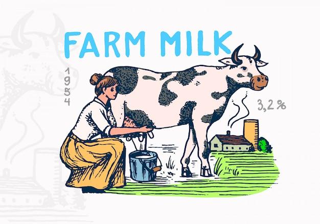 Emblema de leite. fazendeiro de vaca e mulher, leiteira logotipo vintage para loja e camisetas. Vetor Premium