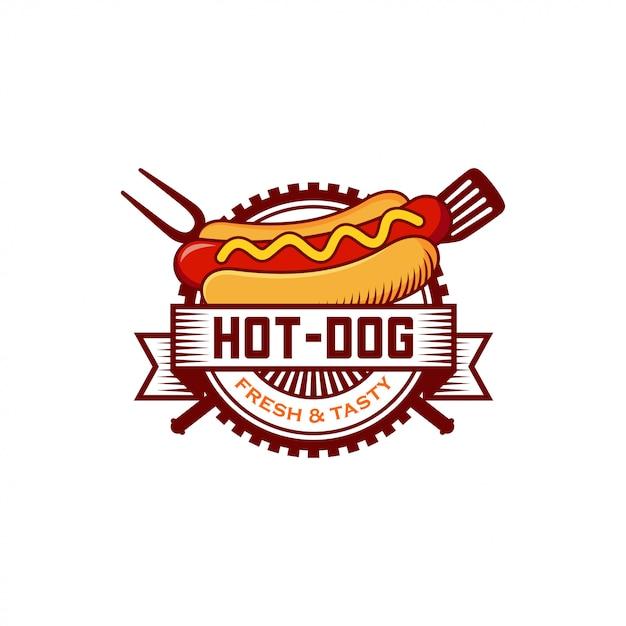 Emblema de logotipo de cachorro-quente Vetor Premium