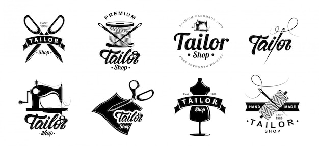 Emblema de logotipo de loja de alfaiate Vetor Premium