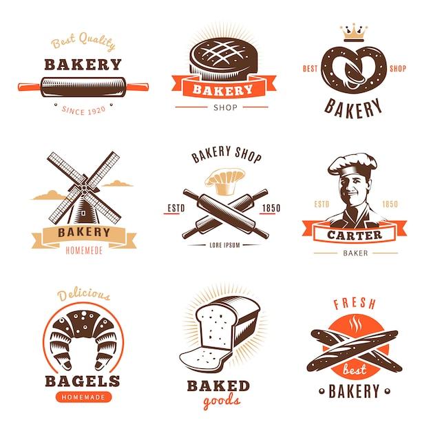 Emblema de loja de padaria com as melhores descrições de produtos de panificação de padaria por exemplo Vetor grátis