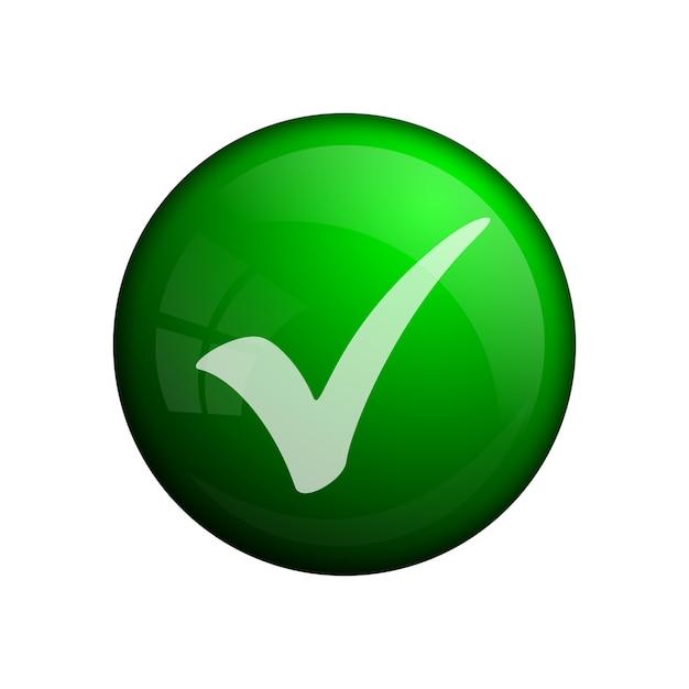 Emblema de marca de seleção verde ou ícone, elemento de conceito. botão de vidro. cor verde. ícone de marca de seleção moderno ou sinal para uso na web, interface do usuário, aplicativos e jogos. Vetor Premium