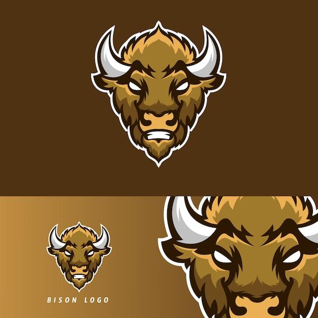 Emblema de mascote de jogo bison esport Vetor Premium