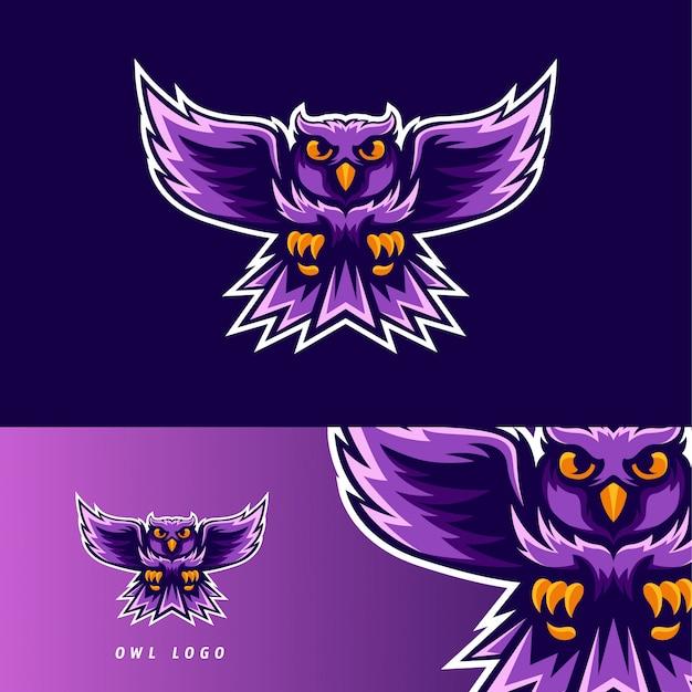 Emblema de mascote de jogo esport ave coruja Vetor Premium