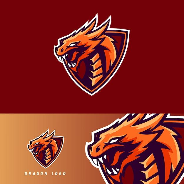Emblema de mascote de jogo esportivo de dragão Vetor Premium