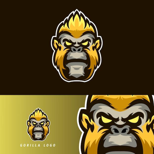 Emblema de mascote de jogos esportivos gorila Vetor Premium