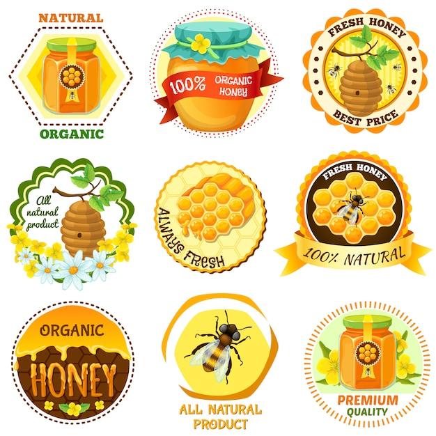Emblema de mel conjunto com descrições de mel fresco orgânico natural melhor preço toda ilustração vetorial de produto natural Vetor grátis
