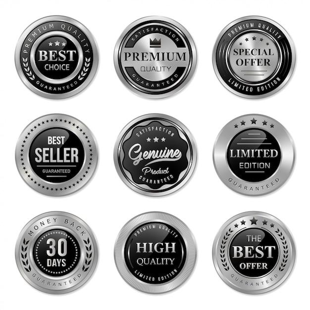 Emblema de metal preto e prata e coleção de rótulo Vetor Premium