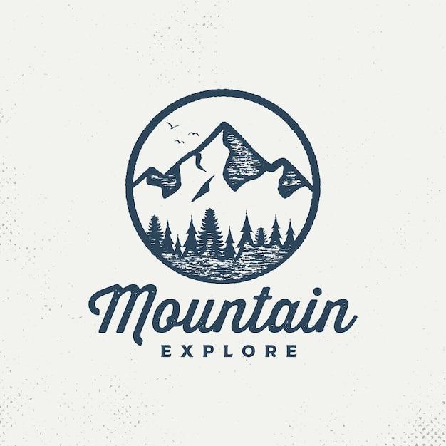 Emblema de montanhas de vetor. Vetor Premium