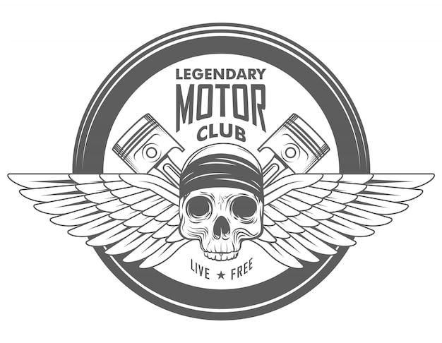 Emblema de motociclista de vetor de garagem de motocicleta, rótulo ou logotipo com crânio no capacete e dois pistões cruzados em estilo monocromático Vetor Premium